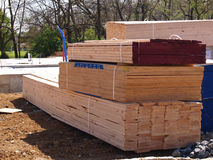 Pile of lumber for a new home royalty free stock photos