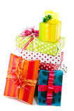 Pile with luxury wrapped surprises Royalty Free Stock Images