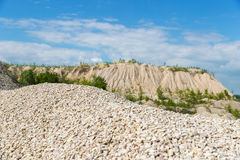 Pile of macadam stone in quarry. Pile of crushed stone in a quarry Royalty Free Stock Image