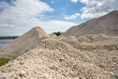 Pile of macadam stone in quarry. Pile of gravel in a quarry Stock Image