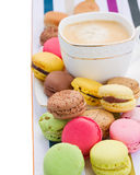Pile  of  macaroons  and coffee Stock Photo