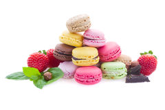 Pile of macaroons with ingredients Royalty Free Stock Photos