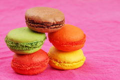 Pile of macaroons on pink Royalty Free Stock Photography