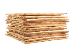 Pile of machine made matza flatbread Royalty Free Stock Images