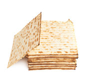 Pile of machine made matza flatbread Royalty Free Stock Photos
