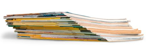 Pile of magazines on white background. Pile magazine magazines print media pile of newspapers paper stack paper Royalty Free Stock Photos