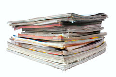 Pile of magazines. Isolated on white Royalty Free Stock Image