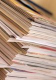 Pile of magazines. Pile of old magazines shallow focus on corners Royalty Free Stock Photography