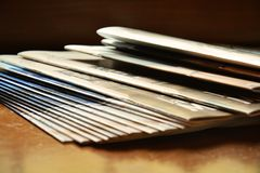 Pile of magazines on the shelf Royalty Free Stock Photography