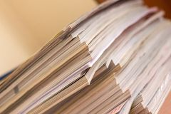 Pile of magazines. Pile of various magazines shallow focus on corners Royalty Free Stock Photo