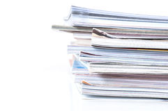 Pile of magazines. On white background Stock Images