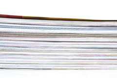 Pile of magazines. On white background Royalty Free Stock Photography