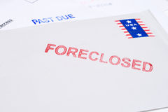 Pile Mail Stamped FORECLOSED PAST DUE Isolated Stock Photo