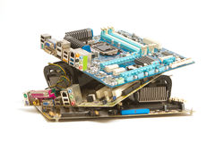 Pile of mainboard computer Royalty Free Stock Image