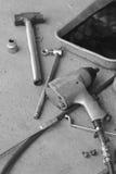 Pile maintenance tool in a car repair. Stock Photo