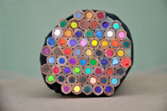 A pile of many bright colored pencils. The back side, selective focus Royalty Free Stock Photography