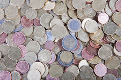 Pile of many different european coins Royalty Free Stock Images