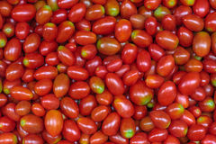 Pile of many fresh red cherry tomatoes. Delicious raw healthy food background. Vegetable market in Bangkok, Thailand. Selective focus Stock Image