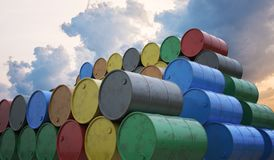 Pile of many oil barrels. 3D rendered illustration.  vector illustration