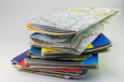 Pile of maps Royalty Free Stock Images