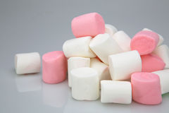 Pile of marshmallow white and pink colors. On light gray background Stock Images