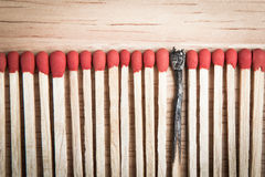 Pile of match arrange in a row on a wood background Royalty Free Stock Images
