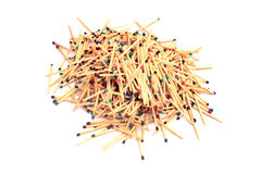 Pile of matches. Wooden matches of different colors Royalty Free Stock Photography