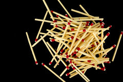 Pile of matches, from above, isolated Stock Image