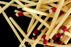 Pile of matches, macro, isolated Royalty Free Stock Photo