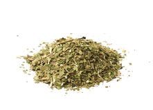 Pile of mate tea leaves isolated. Over the white background stock images