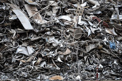 Pile of metal in iron junkyard Stock Photo