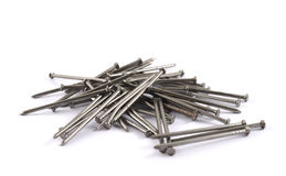 Pile of metal nails isolated Royalty Free Stock Photo