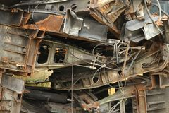 Pile of metal scrap. Wait for recycle Royalty Free Stock Images