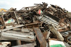 Pile of metal scrap. Wait for recycle Stock Images