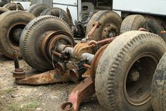 Pile of truck suspension. Pile of metal scrap of truck suspension Royalty Free Stock Photo