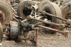 Pile of truck suspension. Pile of metal scrap of truck suspension Stock Photography