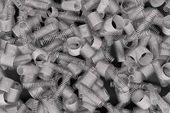 Pile of metal springs and coils. Of different radius, abstract industrial background, 3D render illustration royalty free illustration