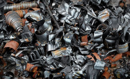Pile of metal swarf. Pile of metal shavings of different colours stock images
