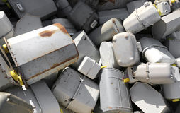 Pile of methane gas meters discharged into a large dump Royalty Free Stock Photography
