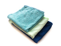 Pile of microfiber cloth for clean on white background, workhous Stock Photo