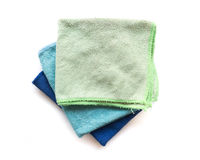 Pile of microfiber cloth for clean on white background, workhous Stock Photography
