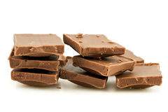 Pile of milk chocolate blocks Stock Photos