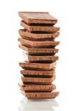 Pile of milk chocolate blocks Royalty Free Stock Images