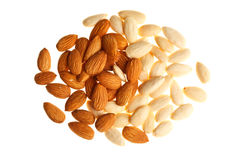 Pile of mixed almonds  isolated Stock Image