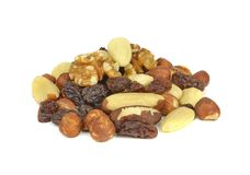 A pile of mixed fruit and nuts Stock Photos