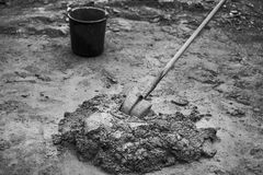 A pile of mixed mortar. Workers had prepared a pile of mortar to repair a house Royalty Free Stock Photography
