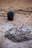 A pile of mixed mortar. Workers had prepared a pile of mortar to repair a house Stock Images
