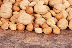 Pile of mixed nuts Stock Images