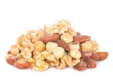 Pile of Mixed Nuts. On white Royalty Free Stock Image