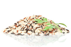 Pile of mixed rice. On a white reflective background Royalty Free Stock Images